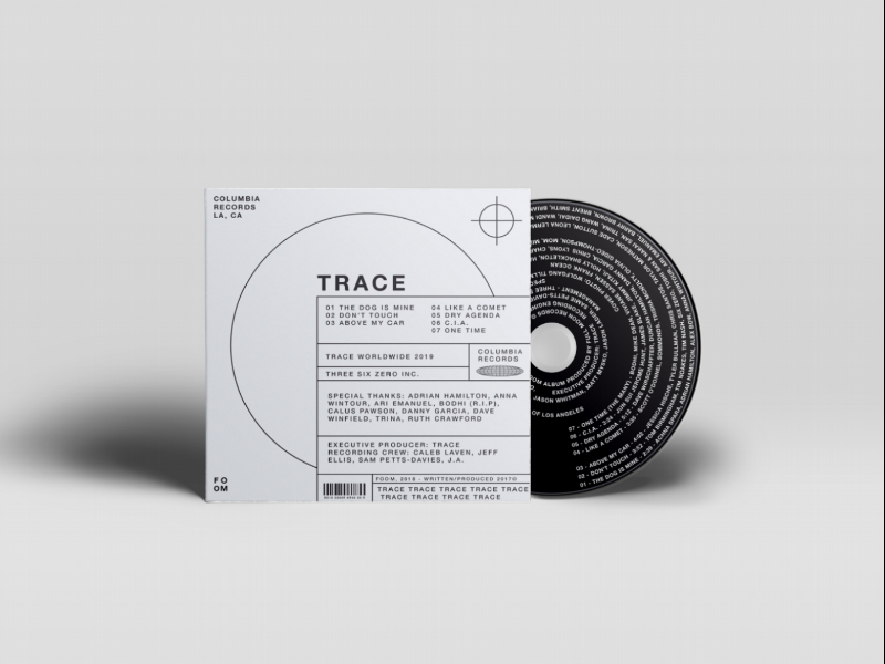 TRACE - Album Cover typography music album cover concept packaging graphic designer
