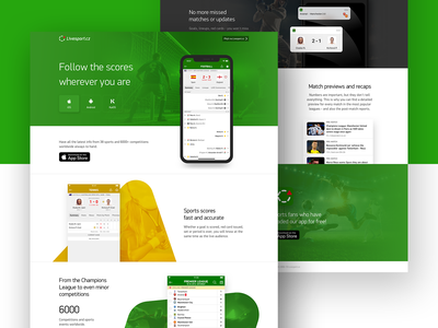 A comprehensive overview of Livesport service landing page football mobile green ios livescore page landing app sport