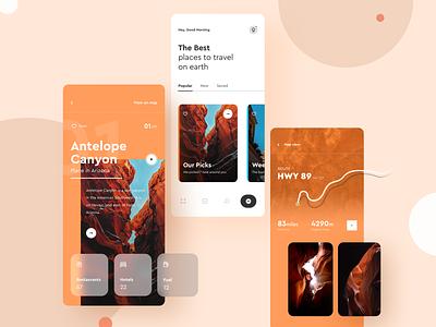 UI Design: Travel Guide App Concept travel app minimal sketch logo typography illustration designer vector ux app ui design conceptual travel