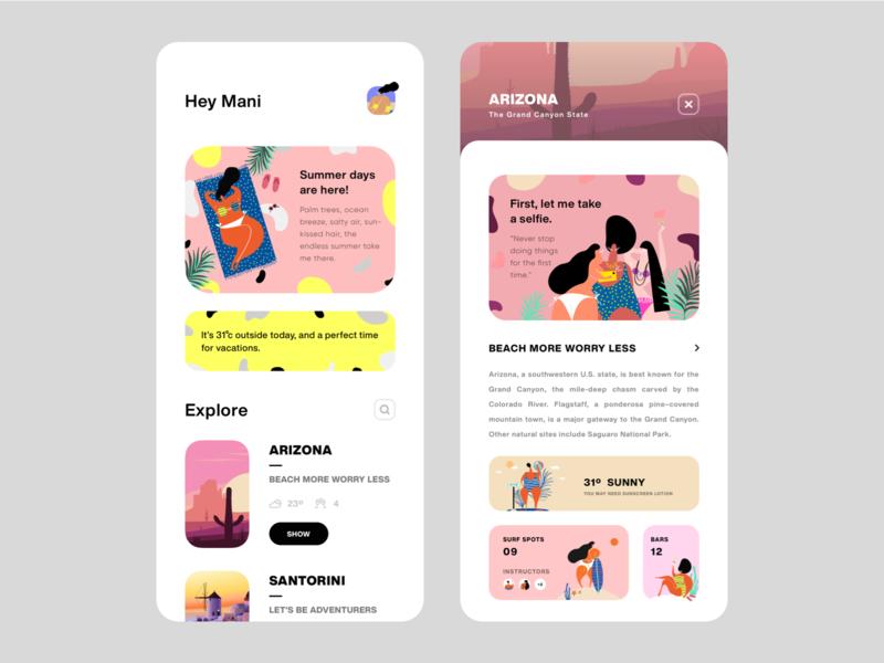 UI Design - Travel App Concept (Summer Vibes)