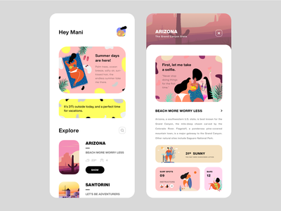 UI Design - Travel App Concept (Summer Vibes) trending popular summer party summertime cool design fresh colors freshworks fresh design vacations summer logo typography illustration designer vector ux app ui design