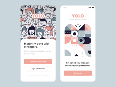 UI Design - Dating app concept (YOLO) graphic brand artwork art 2d dating app abstract popular logo typography illustration designer vector ux app ui design love dating yolo