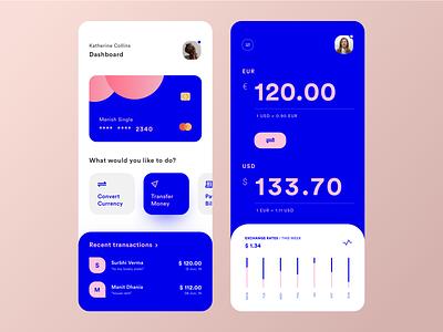 All-in-one Banks App Concept banking app application concept blue currency converter convert transfer currency bank graphic sketch logo typography illustration designer vector ux app ui design
