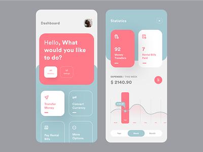 UI Design: All-in-one Banks App Concept artist conceptual bank palette colors statistic stats dashboard sketch logo typography illustration designer vector ux app ui design