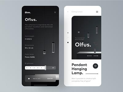 UI Design: Ohm. /Products /Minimal /Unique uidesign ios app design minimalism lamps concept idea unique minimal product sketch logo typography illustration designer vector ux app ui design