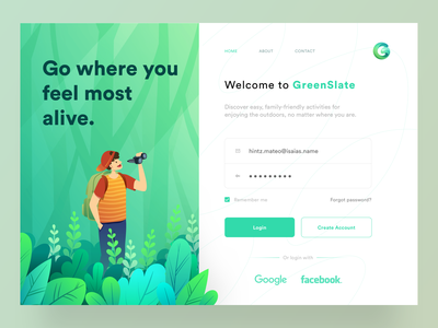 UI Design: GreenSlate. Discover nature in the way you like. ⠀ illustrator sketchapp animation concept art conceptual uidesigns nature forest typogaphy sketch logo typography illustration designer vector ux app ui design