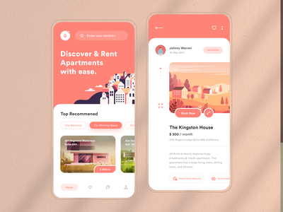 //UI Design Discover & Rent Apartments with Ease. illustrator sketch logo typography illustration designer vector ux app ui design