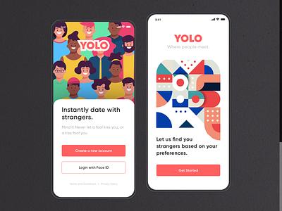 UI Design: Dating App (YOLO) designer illustration dribbble popular trending apple concept newconcept illustrations vector ux app ui design