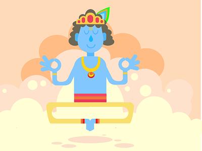 Illustration- Lord Krishna drawing art vector alien illustrator graphic design