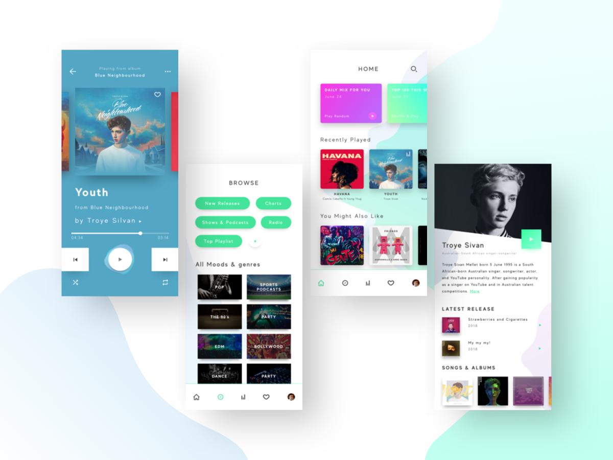 Music Player UI audio app music app follow type dribbble branding sketch graphic web typography illustrator illustration logo designer vector ux app ui design