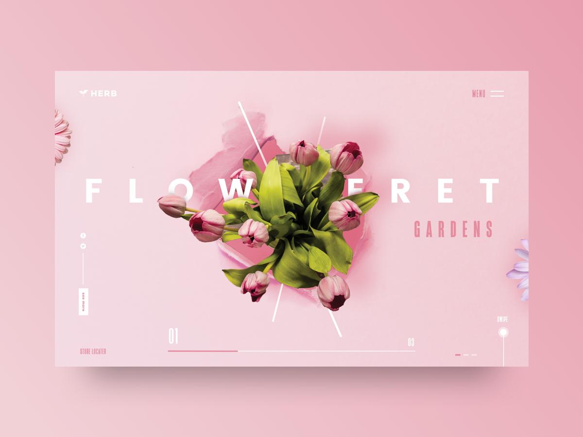 Floweret Gardens UI uxdesign uidesign inspiration clean minimal type sketch graphic web typography illustration designer vector ux app ui design garden pink flower