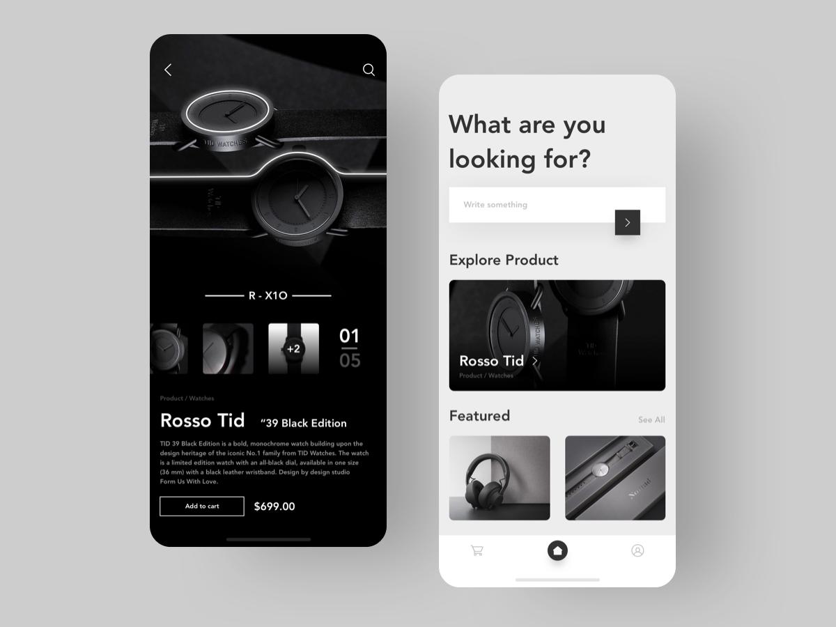 Premium Accessories App UI - Black n White ios lettering website minimal dribbble web sketch graphic illustration typography logo white black  white black designer vector ux app ui design