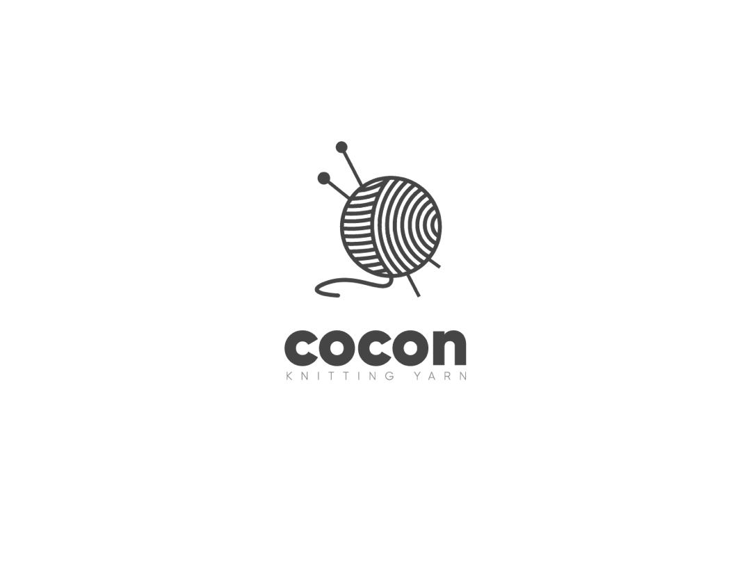 cocon - knitting yarn type minimal illustrator sketch graphic typography designer illustration logo 2d bradning identity knitting yarn inspiration logo vector ux app ui design