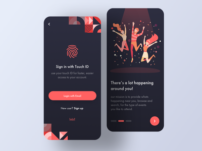# uiux - Login & Onboarding UI for Event Finder App website animation flat minimal branding muzli invision web illustrator sketch graphic typography logo illustration designer vector ux app ui design