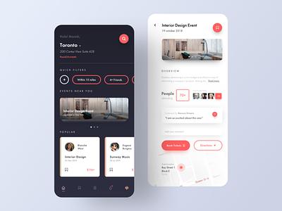 Event Finder App UI (Home Screen & Event illustrator graphic sketch logo typography illustration designer vector ux app ui design