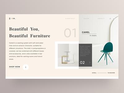 MN Furniture Hero Page - Beautiful You, Beautiful graphic sketch logo typography illustration designer vector ux app ui design