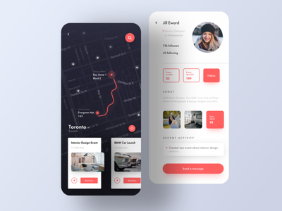 # uiux - Event Finder App UI (Event Location & User Profile) graphic sketch logo typography illustration designer vector ux app ui design