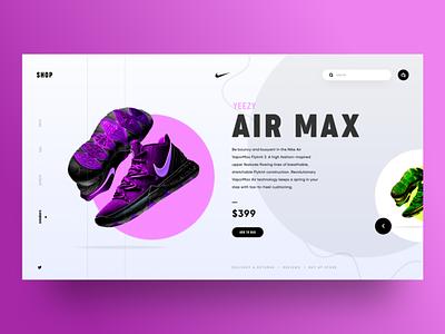UI Design - Nike Air Max Landing Page Concept webui minimal shoes nike sketch logo typography illustration designer vector ux app ui design