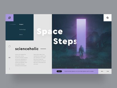 UI Design // Space Steps - Know more about our solar system webuiuxdesign webui web instagram adobe illustrator sketch graphic pink purple solar system space illustration designer vector ux app ui design