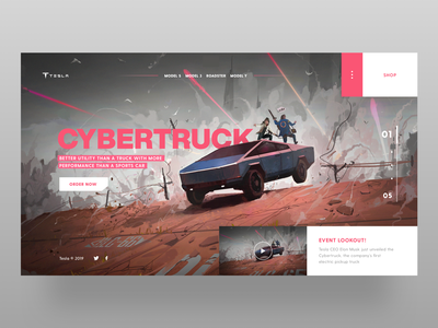 Cybertruck - Warrior Machine conceptual concepts landing webdesign web pink uidesign design art uxdesign uiux minimal icon concept tesla cybertruck ecommerce appdesign app ui design