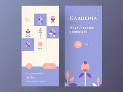 Gardenia - Plants & Flowers for your special occassions app designer product app design app concept login pruple garden plants uiux flower sketch logo typography illustration designer vector ux app ui design