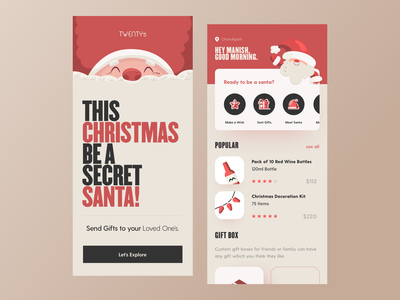 UI Deisgn: Twenty 5: Send Gifts to you Loved One's uidesign santa red merrychristmas 2020 new year christmas appdesign appconcept graphic sketch logo typography illustration designer vector ux app ui design
