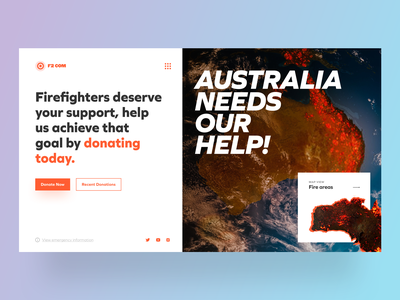 Landing Page: Donations for Australia, They Need Our Help! conceptual save forest fire space donations donate webconcept australia concept sketch logo typography illustration designer vector ux app ui design