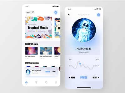 UI Design: Minimal Music Player Concept uxui marshmello music player blue appdesigner concept music app music uiapp graphic sketch logo typography illustration designer vector ux app ui design