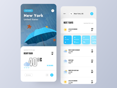 UI Design: Beautiful Weather App Experience Concept appdesign appdesigner uiux uxdesign uidesign app design minimal weather blue logo typography illustration designer vector ux app ui design