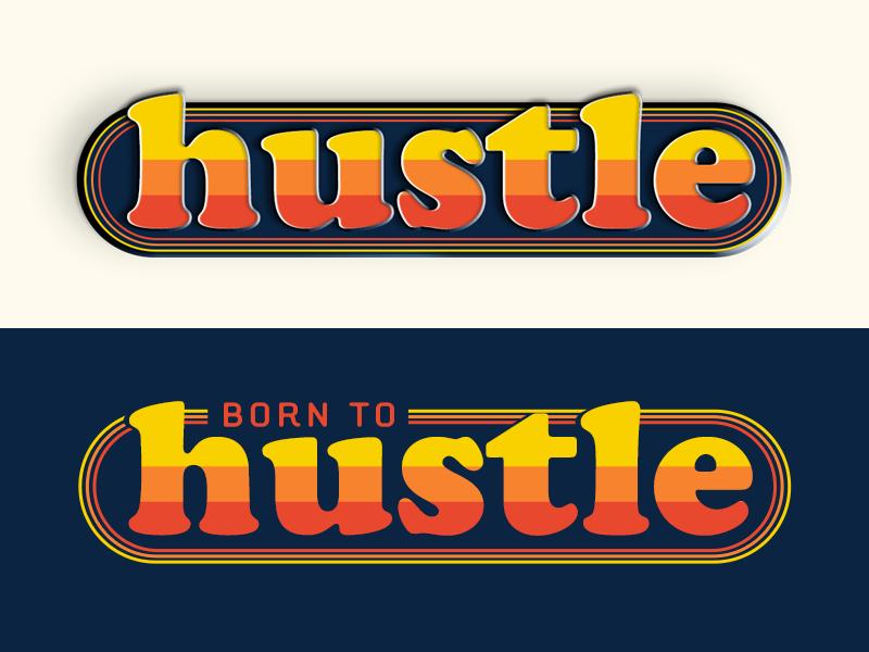 Hustle typography lettering cooper std logo retro vintage enamel pin born to hustle hustle
