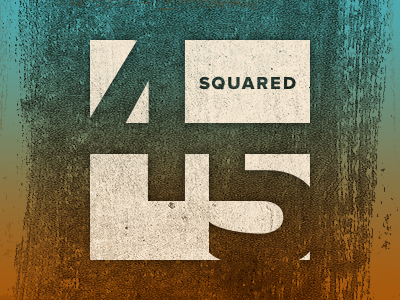 Forty-Five Squared grand rapids concept texture geometric numbers logo brush orange blue green beige knockout
