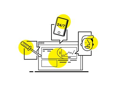 """Customer Service"" cryptocurrency crypto adobecc adobe illustrator ui design character brand brand identity hike one visual adobe illustration"