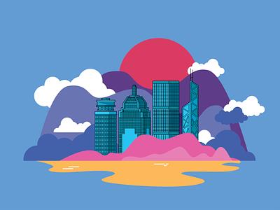 """Hong Kong"" hong kong cityscape illustrator adobecc design adobe illustrator hike one visual adobe illustration"