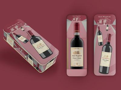 Santa Margherita Gifting packs branding illustration wine package design
