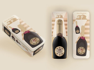 Santa Margherita Gifting packs vector foodpackaging branding illustration wine package design