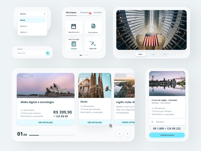Educational exchange mobile ui responsive design minimal web clean components design system user experience user interface ui ui kit