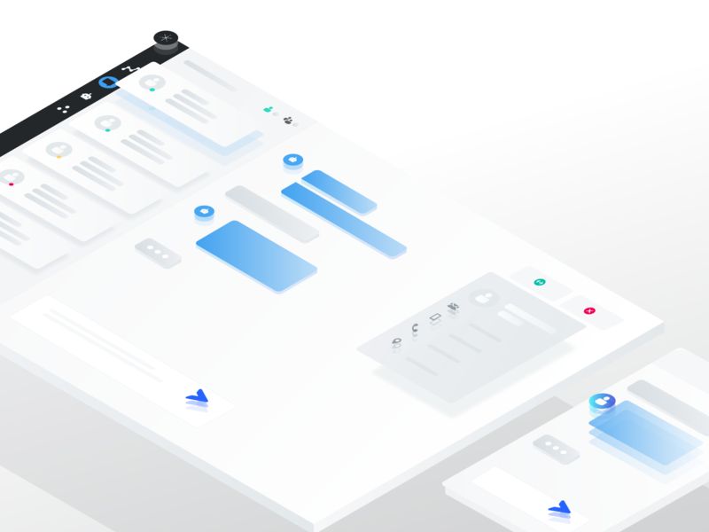 Desk + Chat isometric illustration