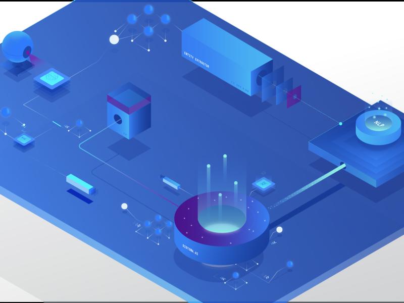 Machine Learning Illustration isometric illustration