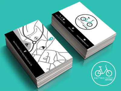 Retro Novi  - Logo and business card business card logo design bicycle