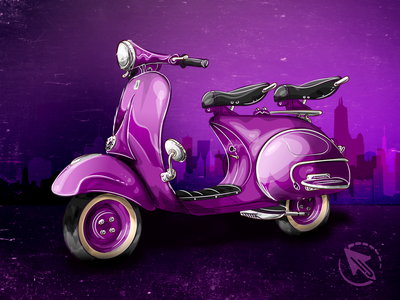 Vespa Dribbble vespa retro wacom tablet illustration