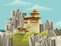 Tibetan monastery illustration