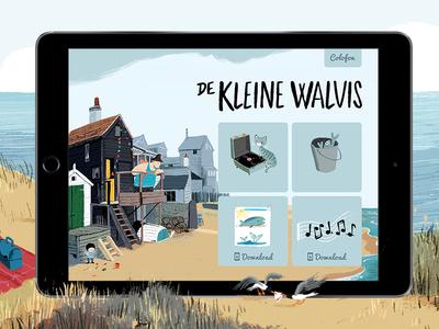 De Kleine Walvis: app begin screen picture illustration animation game book childrens children app kids