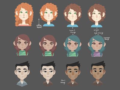 Character progression soft cream pastel drawing cartoons student human progress character game serious illustration