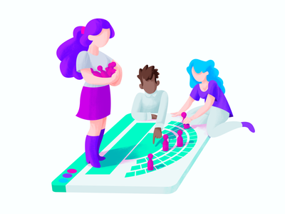 Ovatic seat management collaborate management game pawns svg vector illustration collaborating colleagues planning branding illustrator gradient ticketing startup illustrations