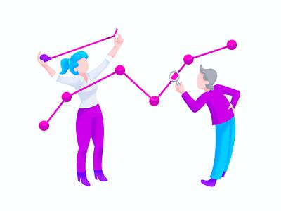 Ovatic Analytics analyze investigate magnify graphic gradient chart statistics graph tape measure people illustrations illustrator illustration analytics