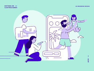 UX Branding Design | Ilustraciones beach turism family geometric app cool vector ux ui branding design illustration