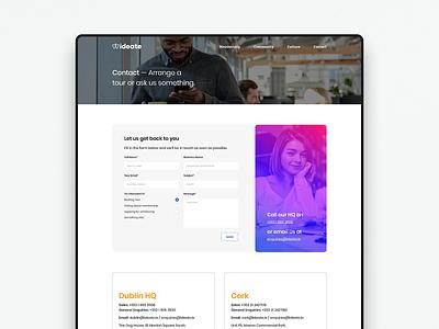 Ideate — Contact logo colour branding ui website webdesign identity digital design brand