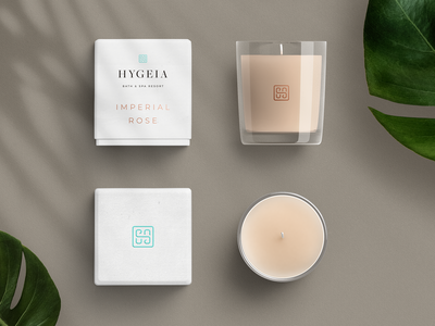 Hygeia — Scented Candle branding wellness organic spa candle logo identity design colour brand