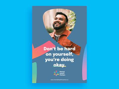 Mental Health Matters — Poster mental health person logo portrait mental health awareness colour branding design identity brand