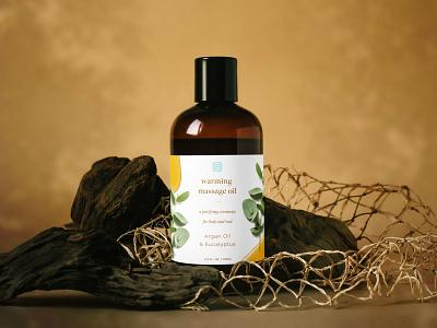 Hygeia — Warming Massage Oil bottle packaging massage oil organic wellness colour branding identity brand